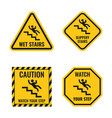 signs danger falling off stairs slippery vector image
