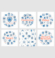 six blue internet square banners vector image vector image