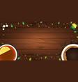tea poster cup of tea with lemon wooden vector image vector image