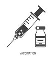 vaccination concept with syringe and vial icon vector image vector image