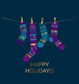 violet and blue xmas socks design element vector image vector image