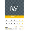 wall calendar planner template for june 2020 week vector image