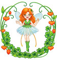 watercolor ginger fairi in a floral wreath vector image