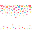 watercolor hearts falling on white background vector image