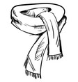 winter scarf drawing on white background vector image vector image
