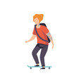 young man riding skateboard guy having tattoo on vector image vector image